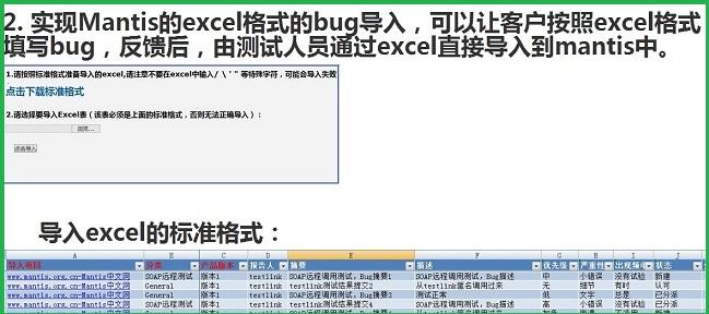 3. 实现Mantis的excel格式的bug导入,可以让客户按照excel格式填写bug,反馈后,由测试人员通过excel直接导入到mantis中。